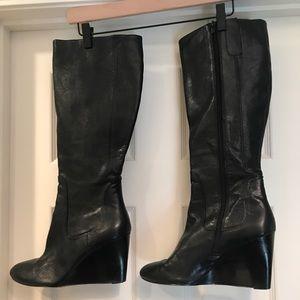 Beautiful Nine West wedge heel knee high boots